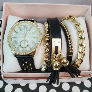 New Watch and Bracelet Gift Set Black Gold